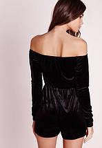 Черный бархатный комбинезон/ромпер с открытыми плечами Missguided, фото 2