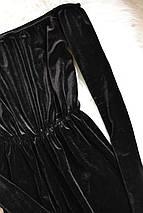 Черный бархатный комбинезон/ромпер с открытыми плечами Missguided, фото 3