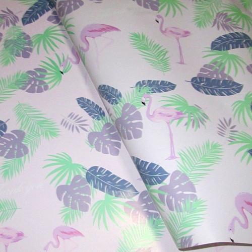 Бумага упаковочная Фламинго 52*75 см, бледно-розовая