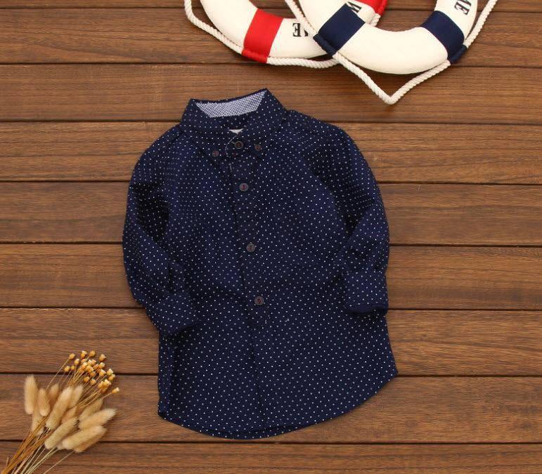 Рубашка Горох удлиненная (син) 104,110,116