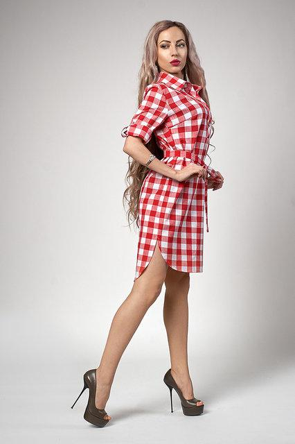 Клетчатое женское платье рубашка