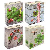 """(Цена за 12шт) Пакет подарочный бумажный """"Ladybird"""" 26х32см, с ручками, пакет для подарка, картонный пакет сувенирный, картонный подарочный пакет"""