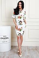 Платье женское с цветочным рисунком, молочное, фото 1