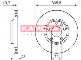 Тормозной диск передний на Renault Trafic 2001->  — Kamoka (Польша) - KAMJ1032408