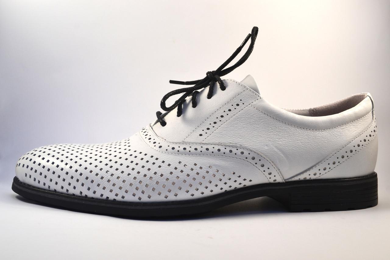 Большой размер летние мужские туфли кожаные белые в сеточку Rosso Avangard BS Romano Bianca Perf