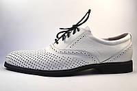 Большой размер летние мужские туфли кожаные белые в сеточку Rosso Avangard BS Romano Bianca Perf, фото 1