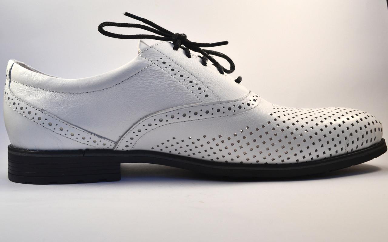 Летние мужские туфли кожаные белые в сеточку Rosso Avangard Romano Bianca Perf
