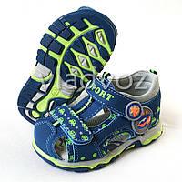 Детские босоножки сандалии для мальчика синие с зелёным Солнце 25р.