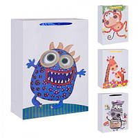 """(Цена за 12шт) Пакет подарочный бумажный """"Детский"""" 26х32см, 12 штук в упаковке, с ручками, пакет для подарка, картонный пакет сувенирный, картонный"""