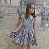 Платье (1018) полоска синяя-мак  (хвостик)