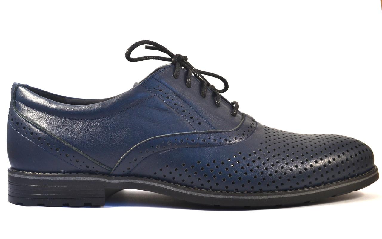 Летние мужские туфли кожаные синие в сеточку Обувь больших размеров 46-50 Rosso Avangard Felicite Blu Perf BS