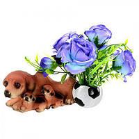 """Статуэтка керамическая """"Собаки с цветами"""" R22303, размер: 22*10*16 см, искусственные цветы, декор, статуэтка из керамики, сувениры, предметы декора"""