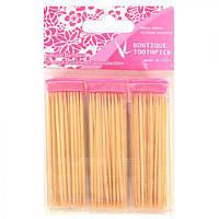 """Зубочистки деревянные """"Bamboo"""" 00109 в упаковке 100 шт, 3 упаковки, зубочистки в пакете, уход за полостью рта"""