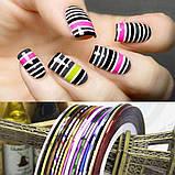 Красные полоски-наклейки на ногти, фото 4