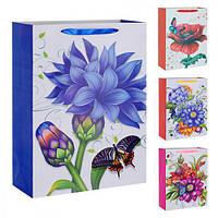 """(Цена за 12шт) Пакет подарочный бумажный """"Цветок"""" 18х23см, с ручками, пакет для подарка, картонный пакет сувенирный, картонный"""