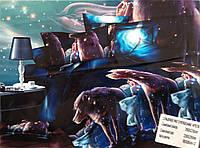 """Сатиновое постельное белье """"3D"""" эвро (серая коробка), фото 1"""