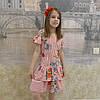 Платье (валан) полоска красная -маки