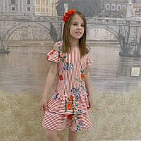 Платье (валан) полоска красная -маки, фото 1