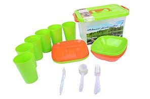 Набор для пикника в контейнере на 6персон (37 предметов)