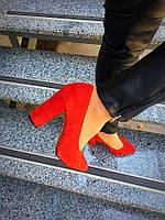 Женские шикарные кожаные туфли на невысоком каблуке