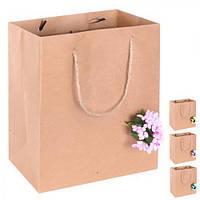 """(Цена за 12шт) Пакет подарочный бумажный """"Craft flower"""" 23х18х10см, 12 штук в упаковке, с ручками, пакет для подарка, крафтовый пакет сувенирный,"""