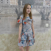 Платье (валан) полоска синие -цветы, фото 1