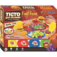 Тесто для лепки набор Фаст фуд, 4 цвета, аксессуары для приготовления Fast food, ОКТО