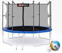 Батут с внутренней сеткой 4 ноги Hop-Sport 10ft синий, 305 см