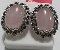 Серьги Марсель из серебра с розовым кварцем