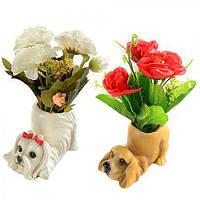"""Статуэтка керамическая """"Собака с цветами"""" R22311, размер: 11*11*15 см, искусственные цветы, декор, статуэтка из керамики, сувениры, предметы декора"""