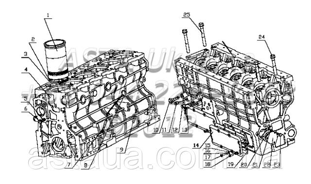 Блок цилиндров в сборе B7615-1002000