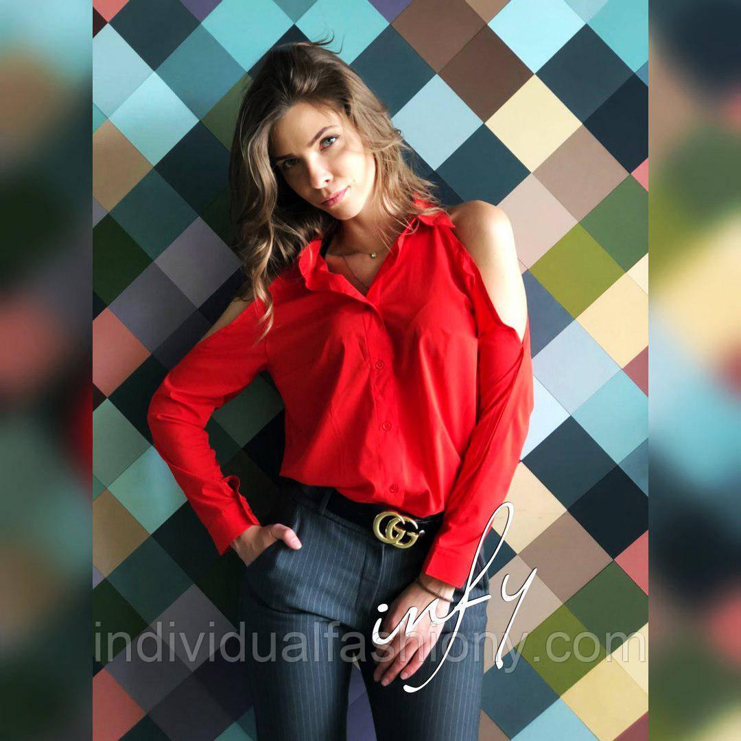 Рубашка с открытыми плечами красный цвет
