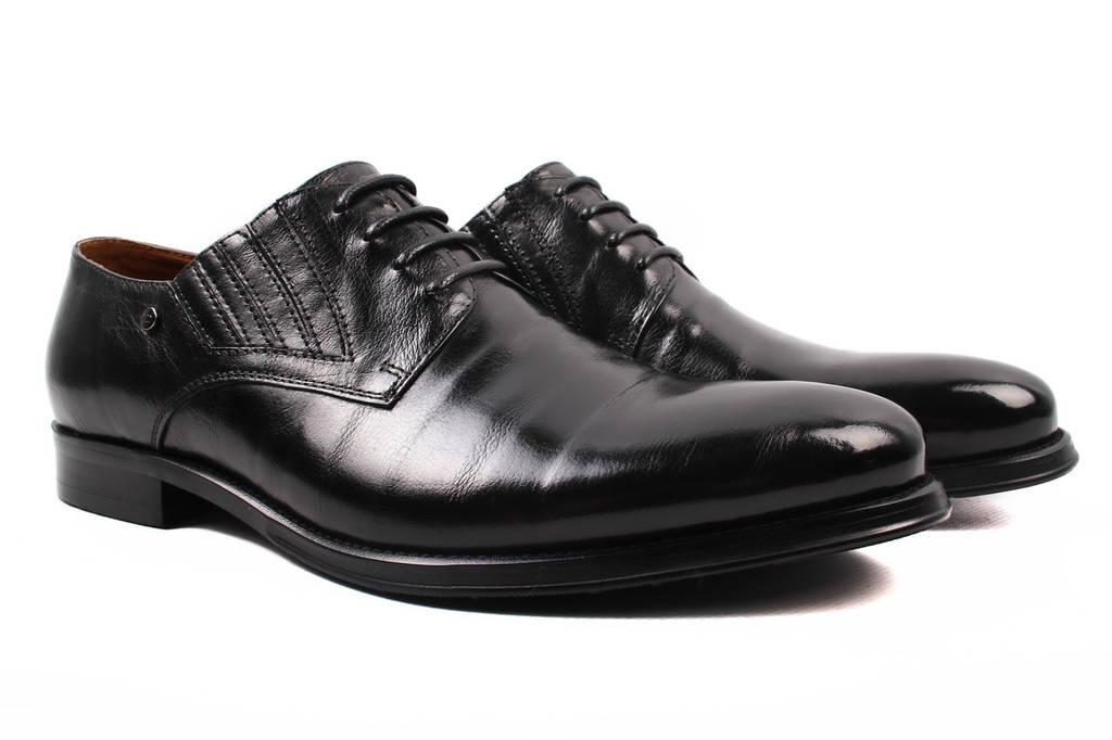 Туфли мужские Lido Marinozzi натуральная кожа, цвет черный (шнуровка, каблук, весна\осень)