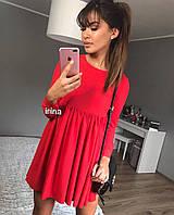Женское стильное коттоновое платье с высокой талией