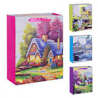 """(Цена за 12шт) Пакет подарочный бумажный """"Романтик"""" 26х32х10см, 12 штук в упаковке, с ручками, пакет для подарка, картонный пакет сувенирный,"""