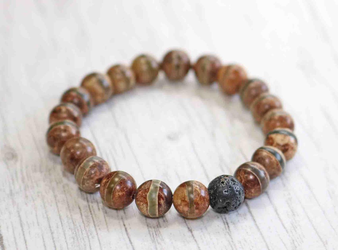 Браслет из натурального камня тибетский агат и лавовый камень
