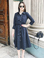 Летнее платье рубашка длиной ниже колен