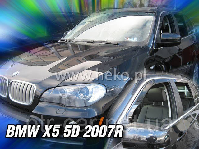 Дефлекторы окон (ветровики)  BMW X5 - 5D 2007->.(HEKO)