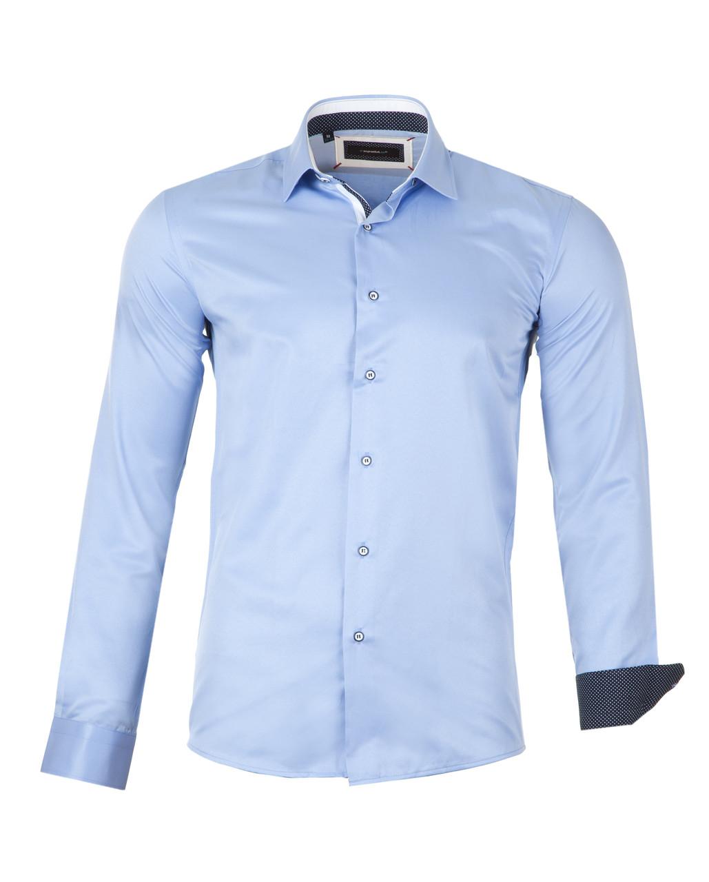 Рубашка мужская  Slim голубая