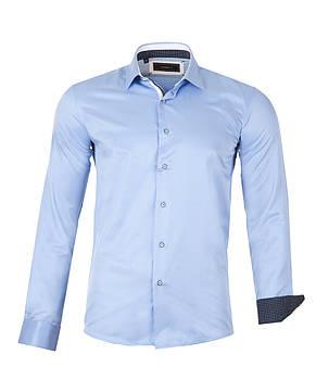 Рубашка мужская  Slim голубая, фото 2