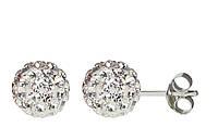 Серьги-гвоздики с кристаллами Swarovski белые (прозрачные)