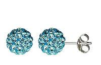 Серьги-гвоздики с кристаллами Swarovski голубые