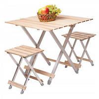 """Комплект раскладной мебели """"Alluwood"""" большой стол и 2 стула алюминий/дерево"""