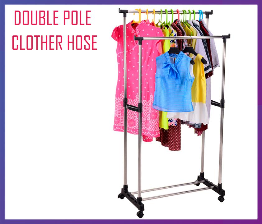 Подвійна телескопічна вішалка, Вішак, стійка для одягу Double Pole Clother Hose