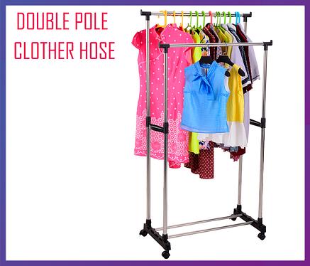 Подвійна телескопічна вішалка, Вішак, стійка для одягу Double Pole Clother Hose, фото 2