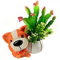 """Статуэтка керамическая """"Собака с цветами"""" R22306, размер: 16*10*18 см, искусственные цветы, декор, статуэтка из керамики, сувениры, предметы декора"""