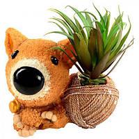 """Статуэтка керамическая """"Собака с цветами"""" R22307, размер: 16*10*15 см, искусственные цветы, декор, статуэтка из керамики, сувениры, предметы декора"""