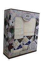 Набор махровых полотенец 2шт. в подарочной упаковке (Турция, 100% хлопок) Белый