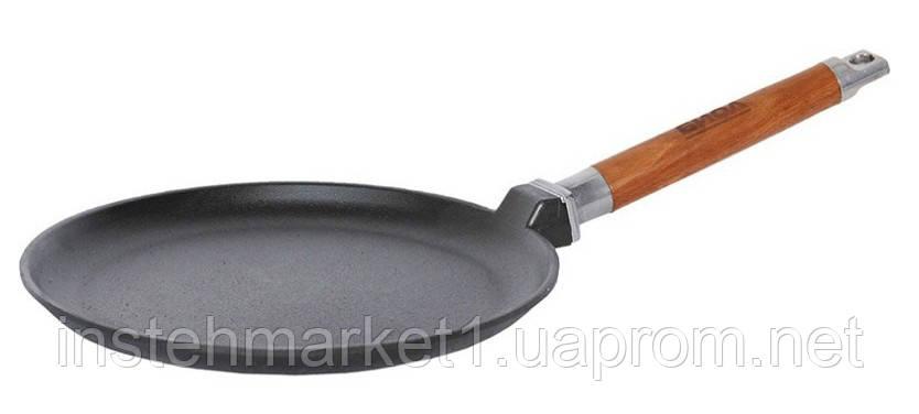 Сковорода блинная БИОЛ 04221 (220х18 мм) чугунная, съёмная деревянная ручка
