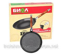 Сковорода блинная БИОЛ 04221 (220х18 мм) чугунная, съёмная деревянная ручка, фото 3